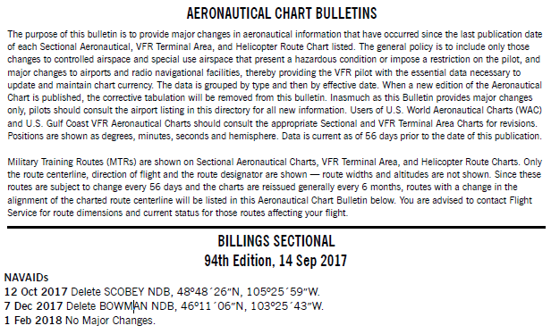 Pilots using VFR charts should also regularly consult the Aeronautical Chart Bulletin  found in the back matter of the appropriate Chart Supplement. This bulletin identifies any updates to the chart that have not yet been accounted for due to the extended six month chart cycle for most VFR charts. Notice in the Aeronautical Chart Bulletin of a NAVAIDs decommissioning or removal does not result in the NAVAIDs U/S or OTS NOTAM being cancelled.