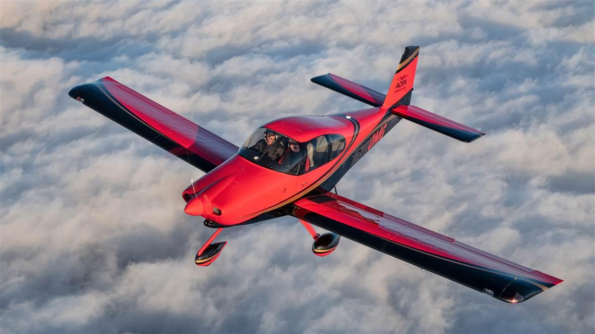 AOPA Sweepstakes RV-10, new paint, air to air. Photo by Mike Collins.