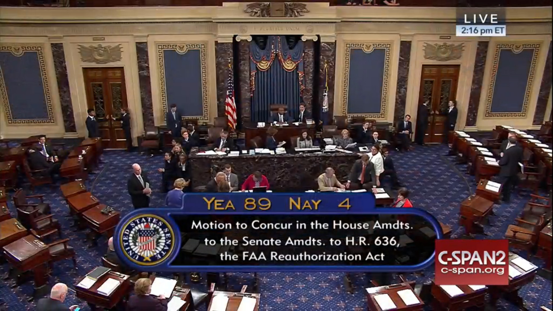 The U.S. Senate overwhelmingly approved legislation that includes medical reform on July 13. Image from C-Span.
