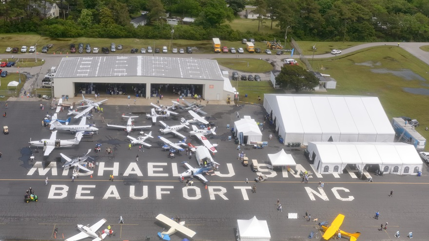 Passengers taking rides in Total Flight Solution's Robinson R44 got this view of AOPA's Beaufort Fly-In.