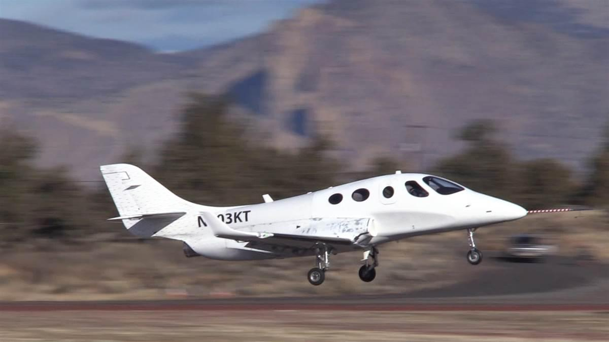 Stratos Aircraft flew their prototype 714 VLJ for the first time Nov. 21, and test flights have contnued evaluating performance and handling. Photo courtesy of Stratos Aircraft.