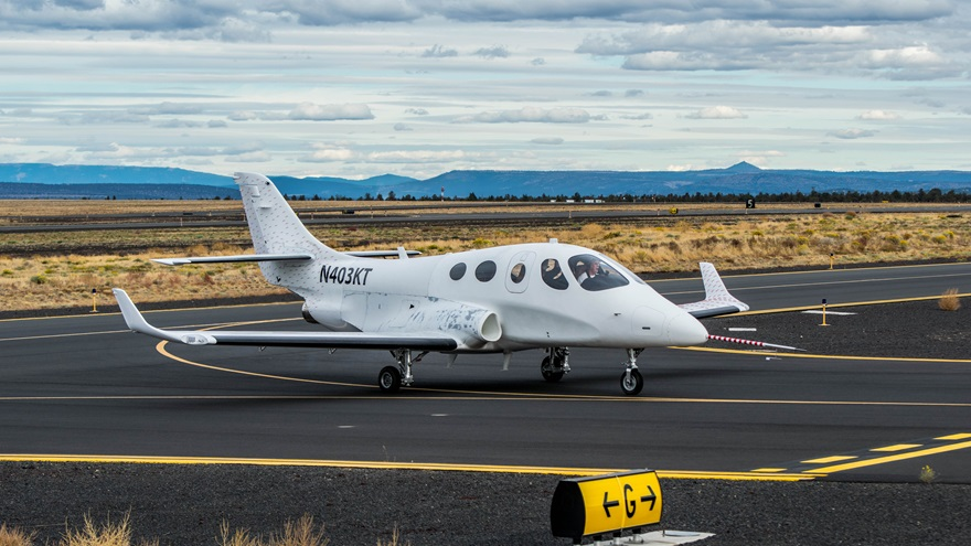 Test pilot Dave Morss flew the maiden flight of the Stratos 714 VLJ (Very Light Jet) on Nov. 21, and tests have continued since. Photo courtesy of Stratos Aircraft.