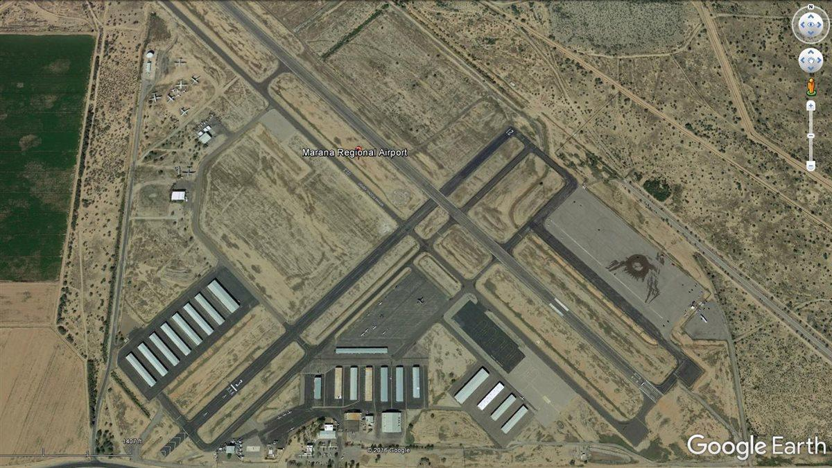 Google Earth view of Marana Regional Airport in Marana, Arizona.