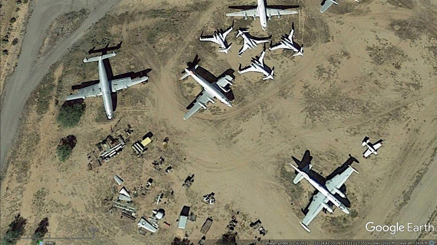 This Google Earth image (taken in November) appears to show four of the remaining Beechcraft Starships at the northwest corner of Marana Regional Airport.