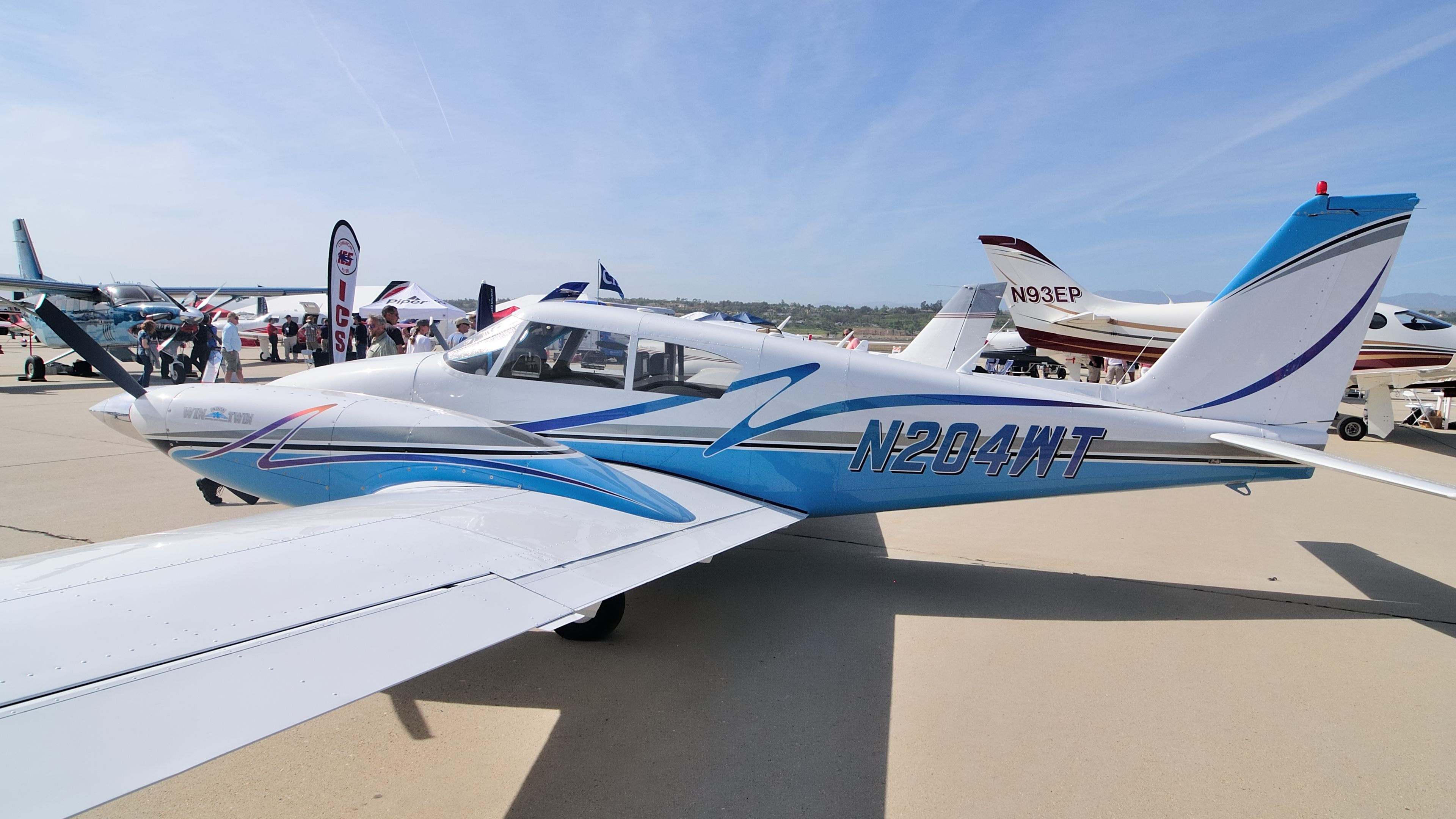 A familiar face at the Camarillo Fly-In is AOPA's 2004 Win a Twin Sweepstakes Piper Twin Comanche. It represented the International Comanche Society in the aircraft static display. Photo by Mike Collins.