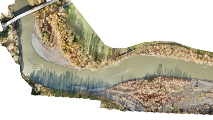 An orthomosaic map (scaled down for web viewing) of a half-mile section of the Nooksack River in Everson, Washington, taken Nov. 15 by Roboticists Without Borders unmanned aircraft pilots Jarrett Broder and Mike McDaniel of Florida State University. This is one type of data product that has been widely utilized in disaster response.