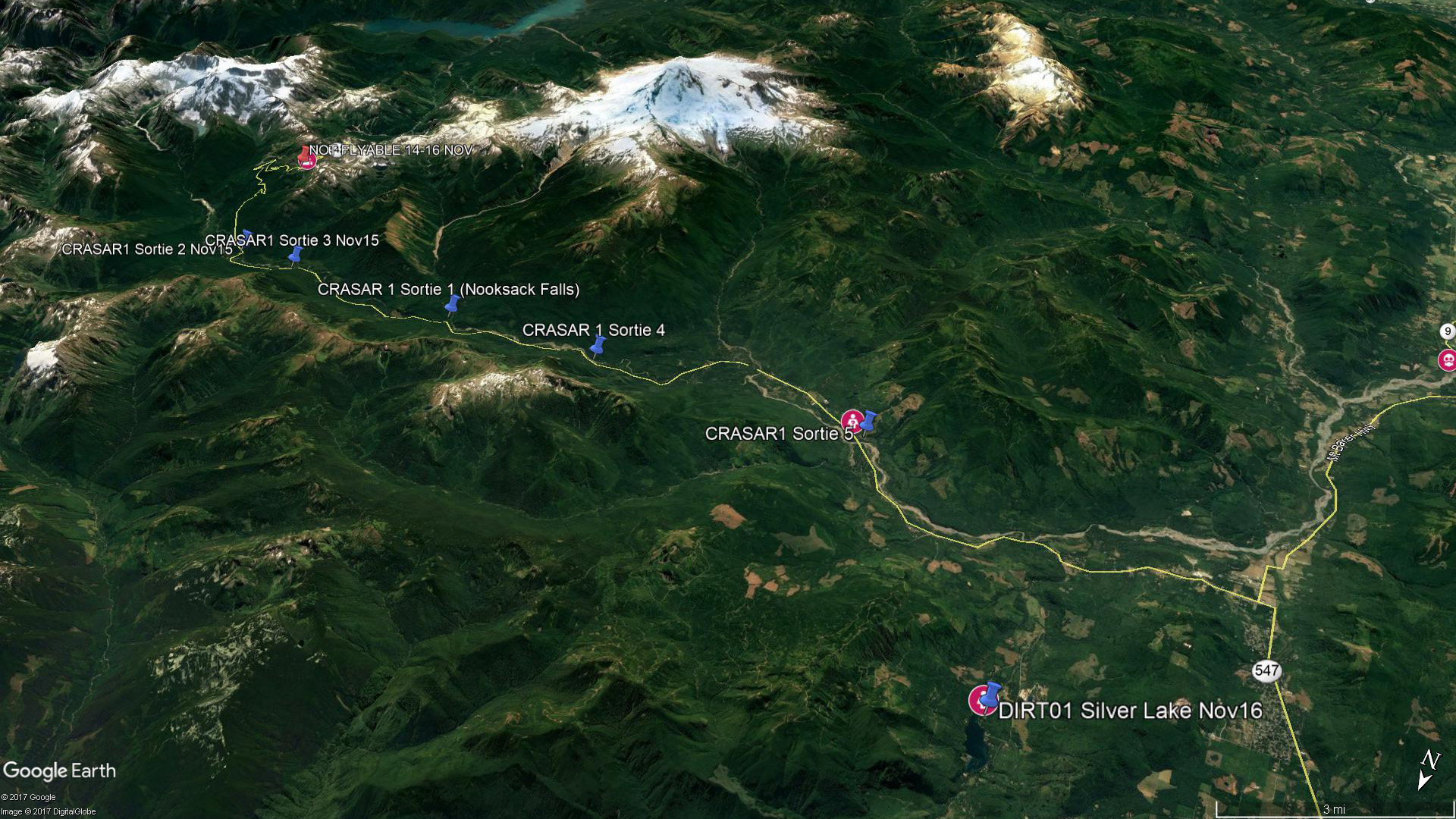 This Google Earth image serves as a location reference for panoramic photos taken in various locations near Mount Baker in Whatcom County. Mount Baker is the dominant peak at the top of the map, the tallest mountain in the North Cascade range.