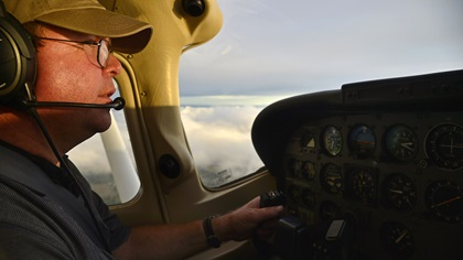 General aviation pilot Carlo Cilliers, who is also an AOPA mechanic, repositions a Cessna 182 from Maryland to central Florida to help in Hurricane Irma relief efforts coordinated by AERObridge Sept. 12. Photo by David Tulis.
