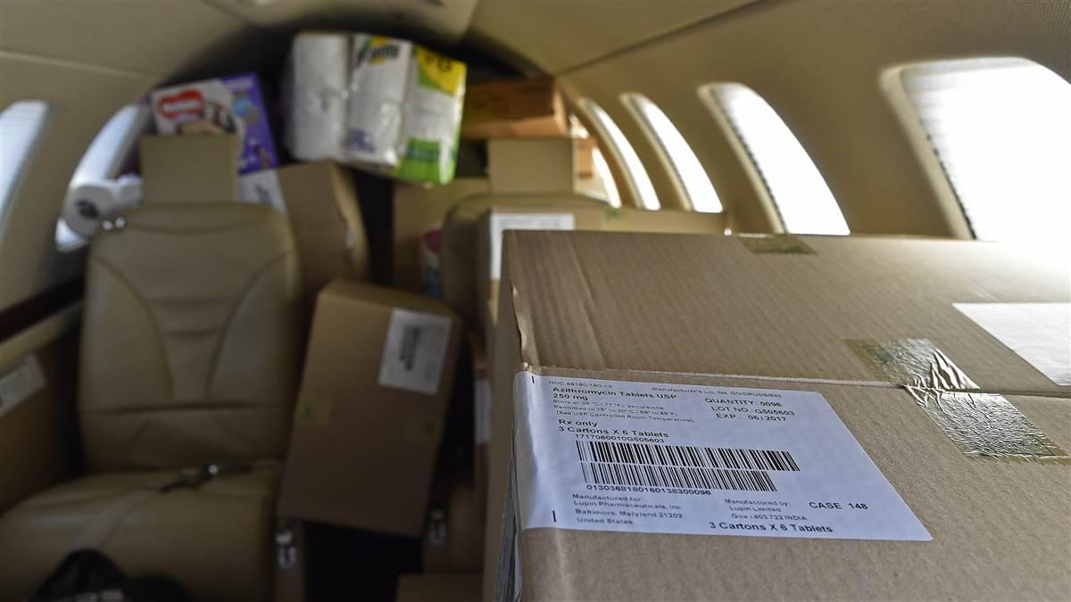 A Cessna Citation jet is packed with about $300,000 worth of antibiotics and other medical supplies bound for St. Croix, U.S. Virgin Islands, to help Hurricane Irma victims, Sept. 14. Photo by David Tulis.