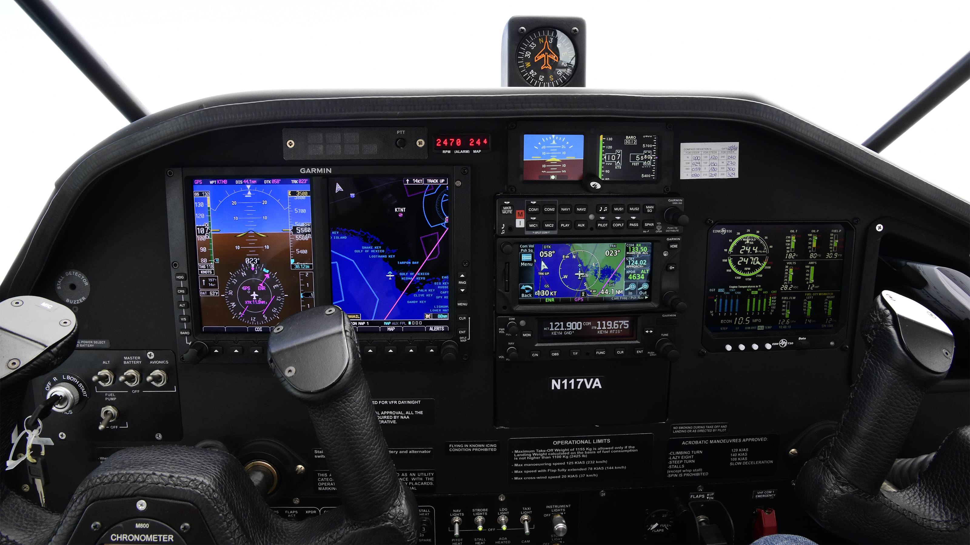 The 2018 Vulcanair V1.0 has a Garmin G500 digital panel and good visibility through side, forward, rear, and skylight windows over the Florida Keys, Aug. 12, 2018. Future models will be outfitted with a Garmin G500 TXi digital panel. Photo by David Tulis