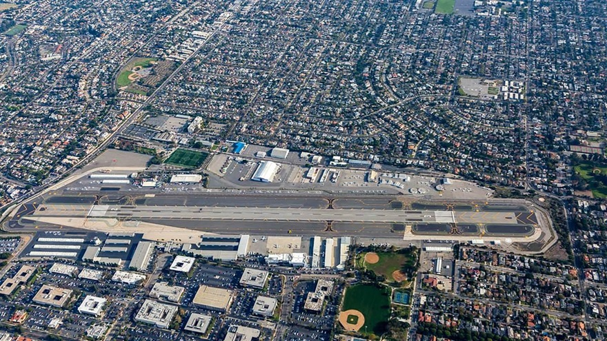 An aerial view shows the updated runway configuration at Santa Monica Airport in California. Photo courtesy of Mark Holtzman, West Coast Aerial Photography.