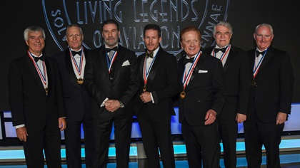 Honorees inducted into the fifteenth annual Awards for the Living Legends of Aviation on Jan. 19 in Beverly Hills, California. Left to right, Dr. Ulf Merbold, H. Ross Perot Jr., John Travolta, Felix Baumgartner, Danny Clisham, Bruno Gantenbrink, AOPA President and CEO Mark Baker. Photo Credits ©2018 Larry Grace Photography / Living Legends of Aviation.