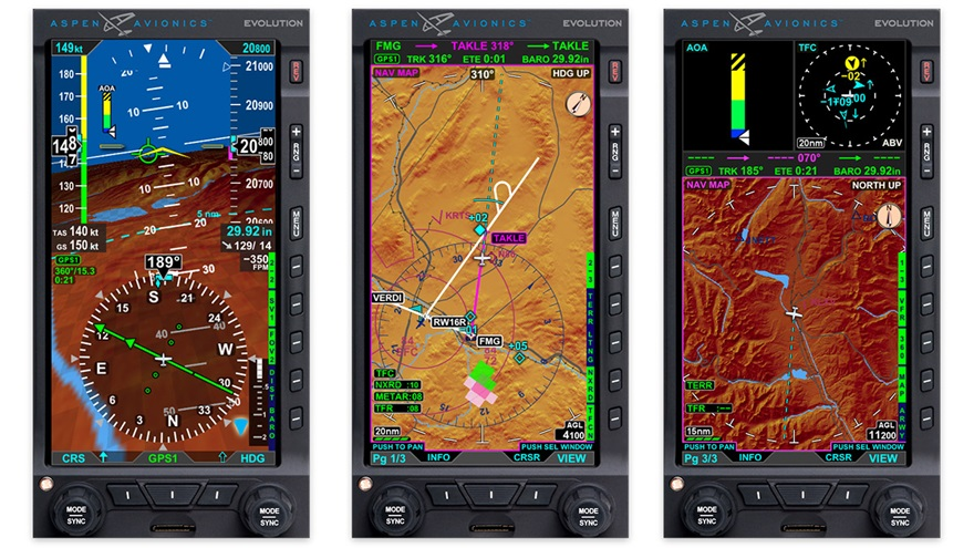 Aspen has introduced the Evolution 1000 Pro MAX primary flight display, the Evolution MFD500 MAX multifunction display (MFD), and the Evolution MFD1000 MAX MFD. Images courtesy of Aspen Avionics.