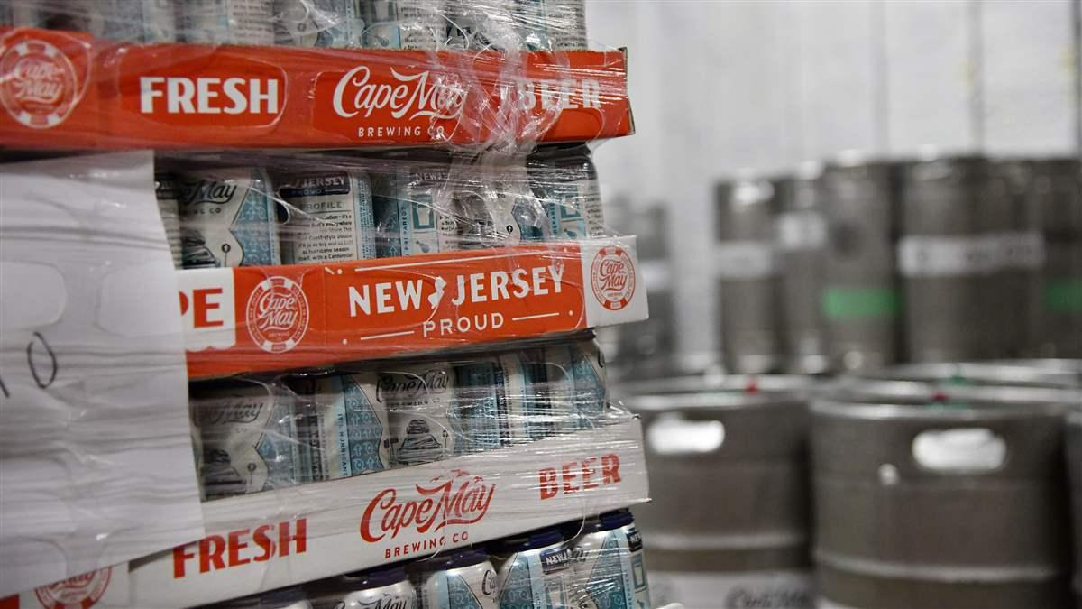 'New Jersey proud' is the slogan stamped on cases of beer at the Cape May Brewing Co. in Cape May, New Jersey. Photo by David Tulis.
