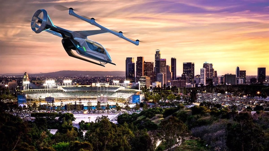 Embraer unveiled its concept for an electric, vertical takeoff and landing concept aircraft May 8 during the Uber Elevate Summit in Los Angeles. Image courtesy of Embraer.