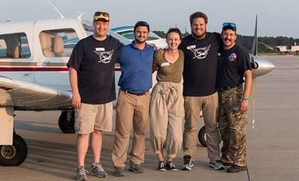 The Operation Airdrop team of Brian Kelly, Brian Rambo, Allison Hoyt, Trey Thriffiley, and Ethan Garrity coordinated hundreds of general aviation compassion flights from Raleigh Durham International Airport during the aftermath of Hurricane Florence. Photo courtesy of Shannon Kelly/Operation Airdrop.
