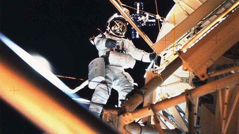 Astronaut Owen Garriott performs a spacewalk at Skylab's Apollo Telescope Mount during Earth orbit. He had just deployed the Skylab Particle Collection S149 Experiment mounted on one of the solar panels designed to collect material from interplanetary dust particles. Photo courtesy of NASA.