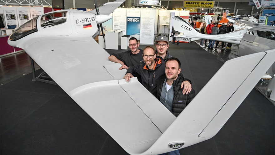 Members of the Horten Aircraft Team, including Silivio Hungsberg, Gunnar Maas, Bernhard Mattlener, and Filip Piskorzynski, present the Horten Aircraft HX-2 flying wing. Photo courtesy of Aero Friedrichshafen.