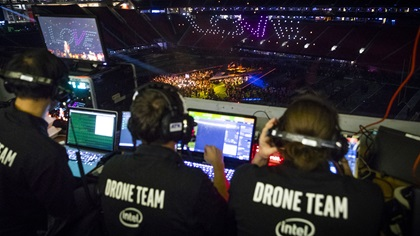 With 150 drones flown live during the halftime show, Intel bested its own record for the largest number of drones flown for an indoor light show on Feb. 3. Photo courtesy of Intel Corporation.