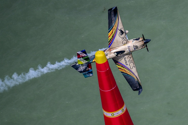 Matt Hall of Australia performs during finals at the third round of the Red Bull Air Race World Championship at Lake Balaton, Hungary. Photo courtesy of Joerg Mitter, Red Bull Content Pool.