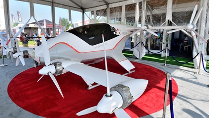 Airbus displayed a Vahana eVTOL technology demonstrator at EAA AirVenture 2019. Powered by eight 45-kW electric motors, it has completed more than 80 test flights at speeds over 100 mph. Photo by Mike Collins.