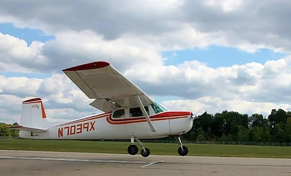 Oakley Clay few her family's red and white Cessna 150 for her first day of her sophomore year of high school. Photo courtesy of Oakley Clay.