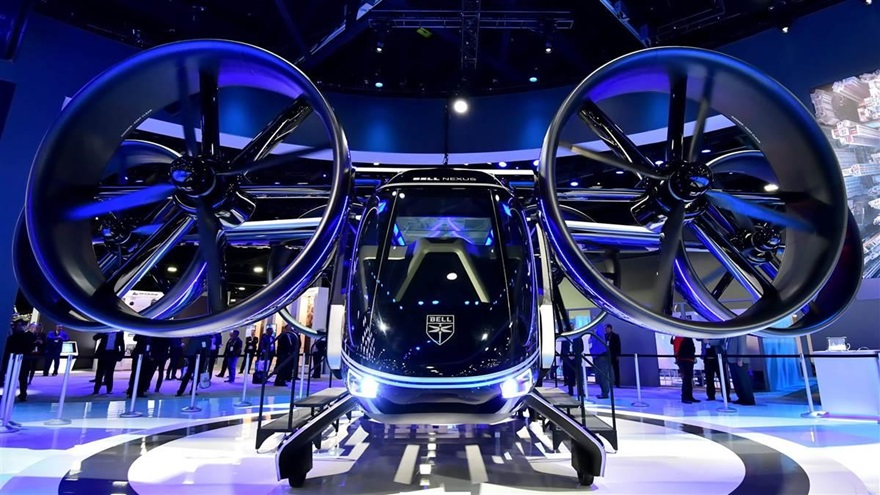 Bell displayed a large-scale mockup of its Nexus, a hybrid-electric vertical takeoff and landing aircraft that targets on-demand mobility. It was the centerpiece of Bell's exhibit at HAI Heli-Expo 2019. Photo by Mike Collins.