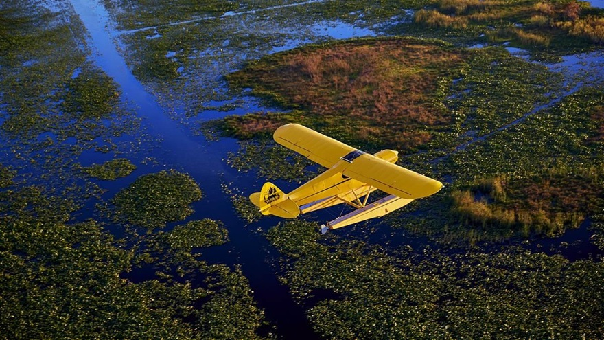 The AOPA Sweepstakes Super Cub flies over Lake Istokpoga in Florida. Photo by Mike Fizer.