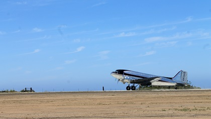 A DC-3 makes the first landing on Catalina Island's rebuilt runway at Airport in the Sky on May 3. Photo courtesy of the Catalina Island Conservancy.