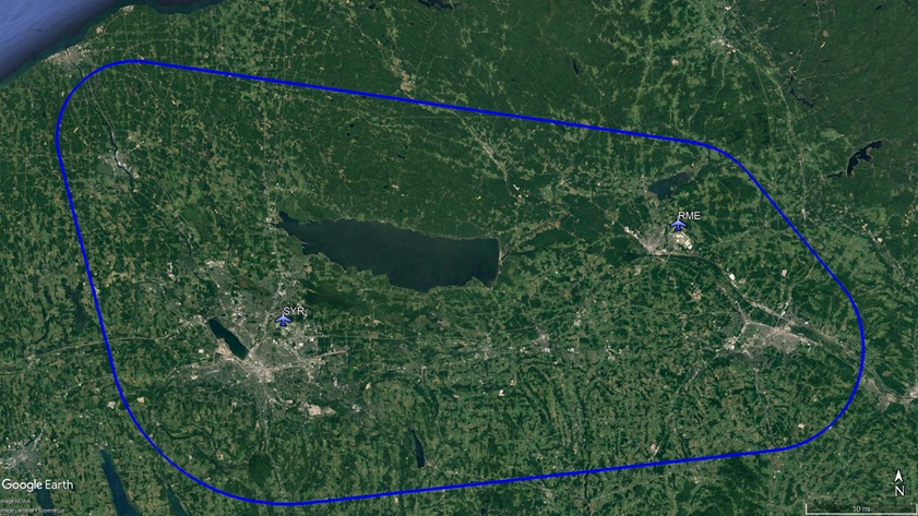 The lateral boundaries of a 50-mile test corridor for unmanned aircraft in upstate New York include the controlled airspace around airports in Syracuse and Rome. Google Earth image with overlaid data provided by NUAIR.