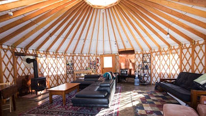 Stay warm and cozy in this glamping yurt when you aren't hitting the slopes. Photo courtesy of Ruby Mountain Heli-Ski.
