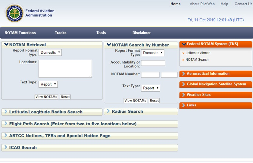 The FAA's PilotWeb portal, shown here, will be phased out in February.