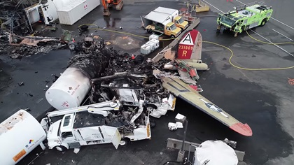 A view of the main wreckage site captured by an NTSB drone. Photo courtesy of the NTSB via YouTube.