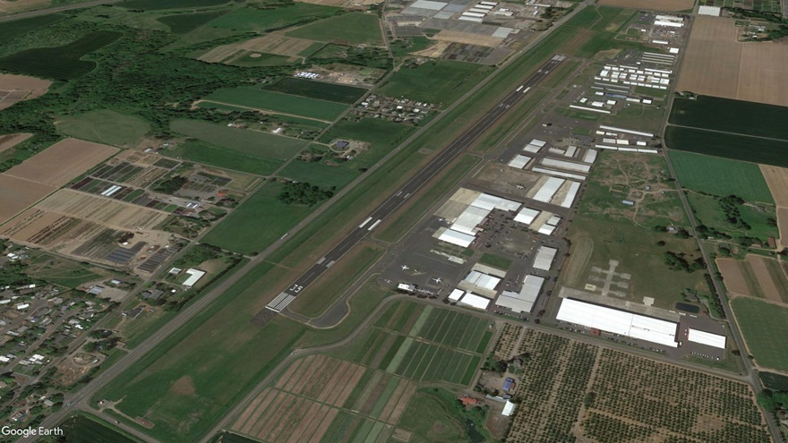 Aurora State Airport in Aurora, Oregon. Google Earth image.
