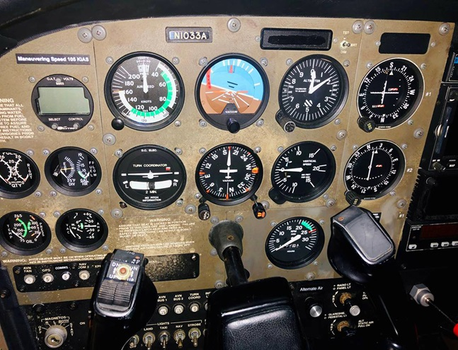 The use of incorrect disinfectant sprayed on an instrument panel damaged a Cessna 172 in the Atlas Aviation fleet at Peter O. Knight Airport in Tampa, Florida. Photo courtesy of Deric Dymerski.