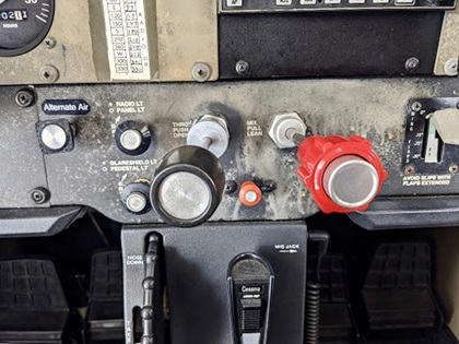 Alcohol-based disinfectant produced by a distillery and sprayed on an Atlas Aviation Skyhawk's instrument panel damaged the panel near the power quadrant. Photo courtesy of Deric Dymerski.