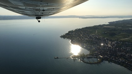 View over Lake Constance and the Alps from the Zeppelin's back window.