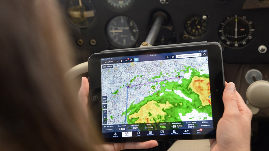 Pilots are increasingly relying on apps for weather data before flight, according to AOPA's 2020 Weather Survey. Photo by David Tulis.