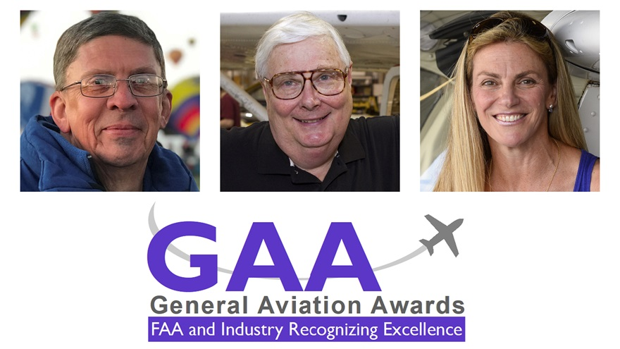 The General Aviation Awards program has named its 2020 honorees (left to right): Gary Brossett, Dennis Wolter, and Catherine Cavagnaro. AOPA graphic composed with images courtesy of Gary Brossett and the General Aviation Awards.