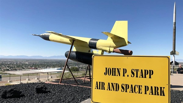 "The Smithsonian-affiliated New Mexico Museum of Space History is home to the John P. Stapp Air and Space Park, a collection of artifacts on display outside the museum. The area is named for the International Space Hall of Fame inductee (the hall of fame is housed inside the museum) who earned the title ""The Fastest Man Alive"" when he rode the Sonic Wind I rocket-propelled sled in 1954 to a land record speed of 632 mph in five seconds. Photo by MeLinda Schnyder."