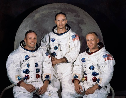 A NASA crew photo of Apollo 11 Commander Neil A. Armstrong, Command Module Pilot Michael Collins, and Lunar Module Pilot Edwin E. Aldrin Jr. Photo courtesy of NASA.