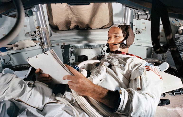Apollo 11 Command Module pilot Michael Collins practices duties in a simulator on June 19, 1969, at Kennedy Space Center. Photo courtesy of NASA.