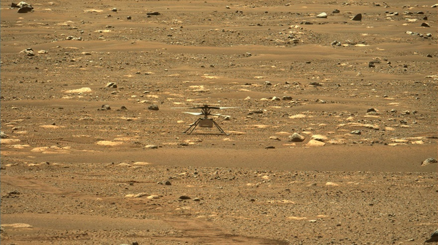 "This image from NASA's ""Perseverance"" rover shows the agency's ""Ingenuity"" Mars Helicopter right after it successfully completed a high-speed spin-up test. It was captured by the Mastcam-Z instrument on ""Perseverance"" on April 16, 2021 (the 55th sol, or Martian day, of the rover's mission). The image has been slightly processed (stretched and cropped), courtesy of NASA/JPL-Caltech/ASU."