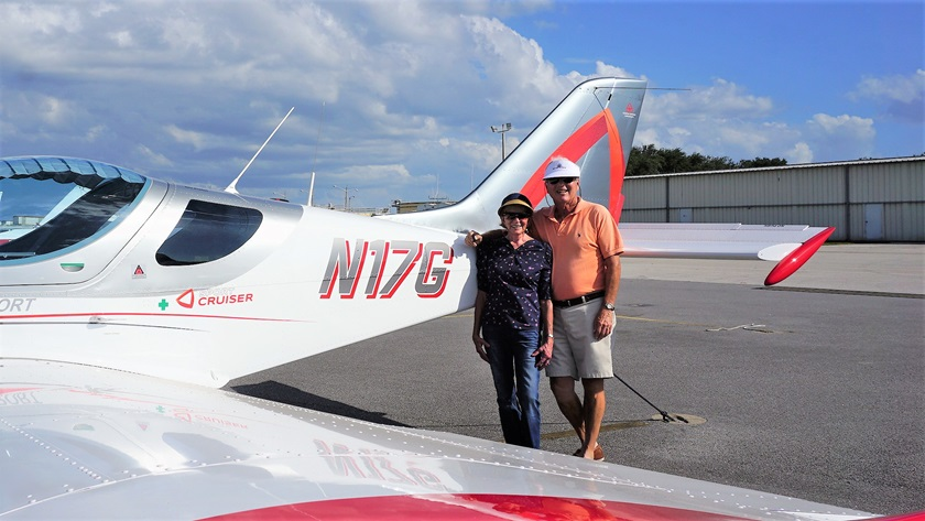 Rick Polinsky and his wife, Loie, have owned a series of aircraft—a Piper Tomahawk, Piper Warrior, Beechcraft Sierra, Socata Trinidad, and Columbia 350—to match his progression through his pilot certificates and ratings, flying across the country and to the Bahamas. Now the two own a light sport Sport Cruiser and enjoy socially distanced flights around Florida. Photo courtesy of Rick Polinsky.