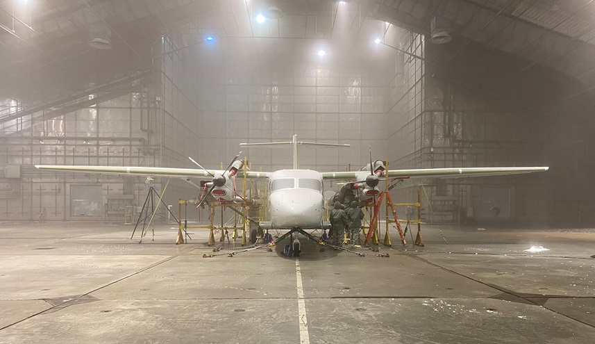 Textron's twin turboprop SkyCourier has been subjected to extreme temperatures during FAA certification tests. Photo courtesy of Textron Aviation.