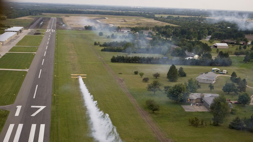 Lloyd Stearman field, 14 miles northeast of Wichita, Kansas, is primarily an airpark community but offers food, fuel, and services for visitors. Photo by Mike Fizer.