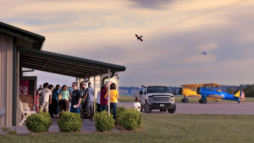 Lloyd Stearman field, 14 miles northeast of Wichita, Kansas, offers a cafe, fuel, and repair services to visitors. Photo by Mike Fizer.
