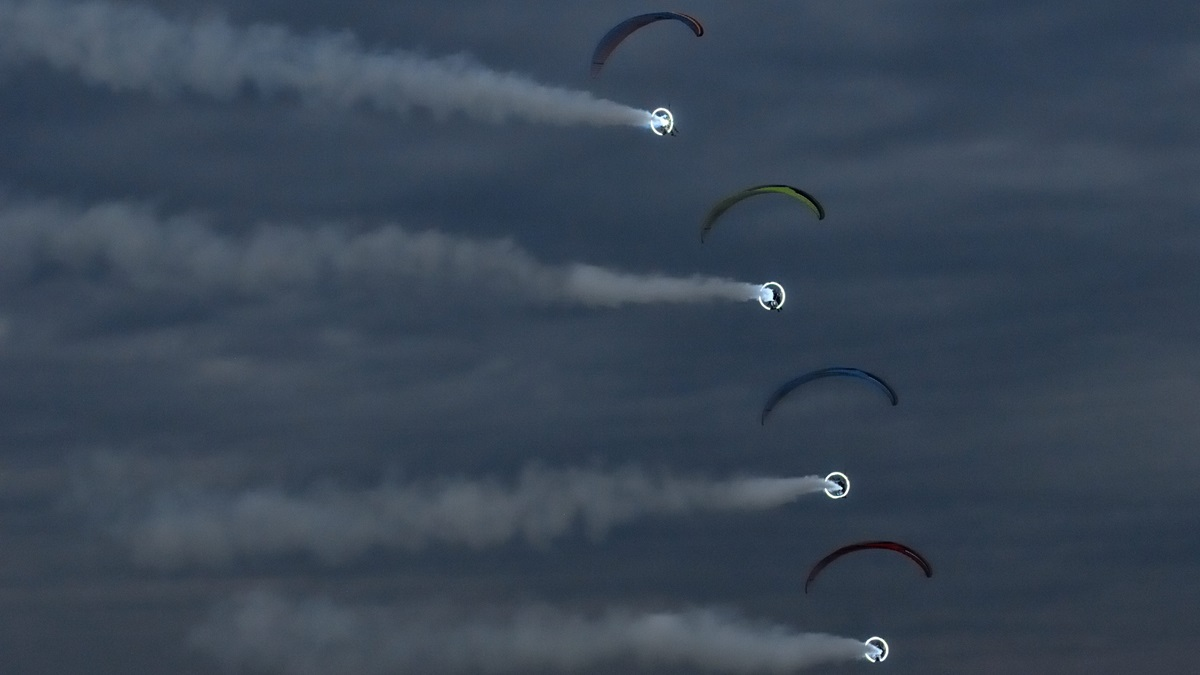 Flying powered paragliders