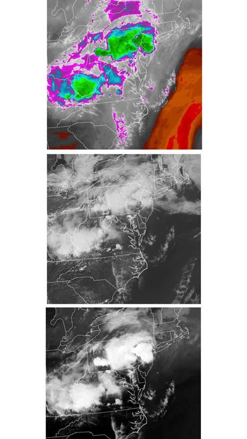 Images from May 29, 2019, a day that spawned tornados in the mid-Atlantic. Water vapor imagery (top) shows high moisture content in cloud tops. Visible imagery (center) gives more detail of the weather system's cloud composition, extent, and structure. Black-and-white infrared imagery (bottom) renders the highest cloud tops in the brightest shades.
