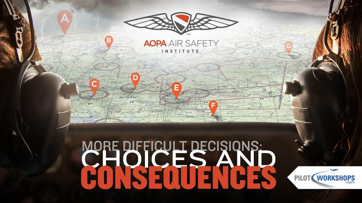 "As Pilot in Command, you know that the decisions you make always have consequences. Sometimes, they can even mean the difference between life and death. Join the AOPA Air Safety Institute as we examine more ""what would you do?"" scenarios from our partners at PilotWorkshops in this season's free seminar! Take this opportunity to discuss, compare, and debate the decision options for the flight situations presented in the scenarios. It's a great way to share aviation safety knowledge with seminar leaders and other attendees."